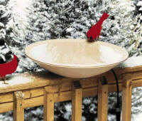 Heated, deck mounted birdbath